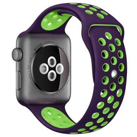 Curea iUni compatibila cu Apple Watch 1/2/3/4/5/6, 38mm, Silicon Sport, Purple/Green